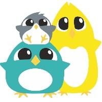 tøybleier little birds logo