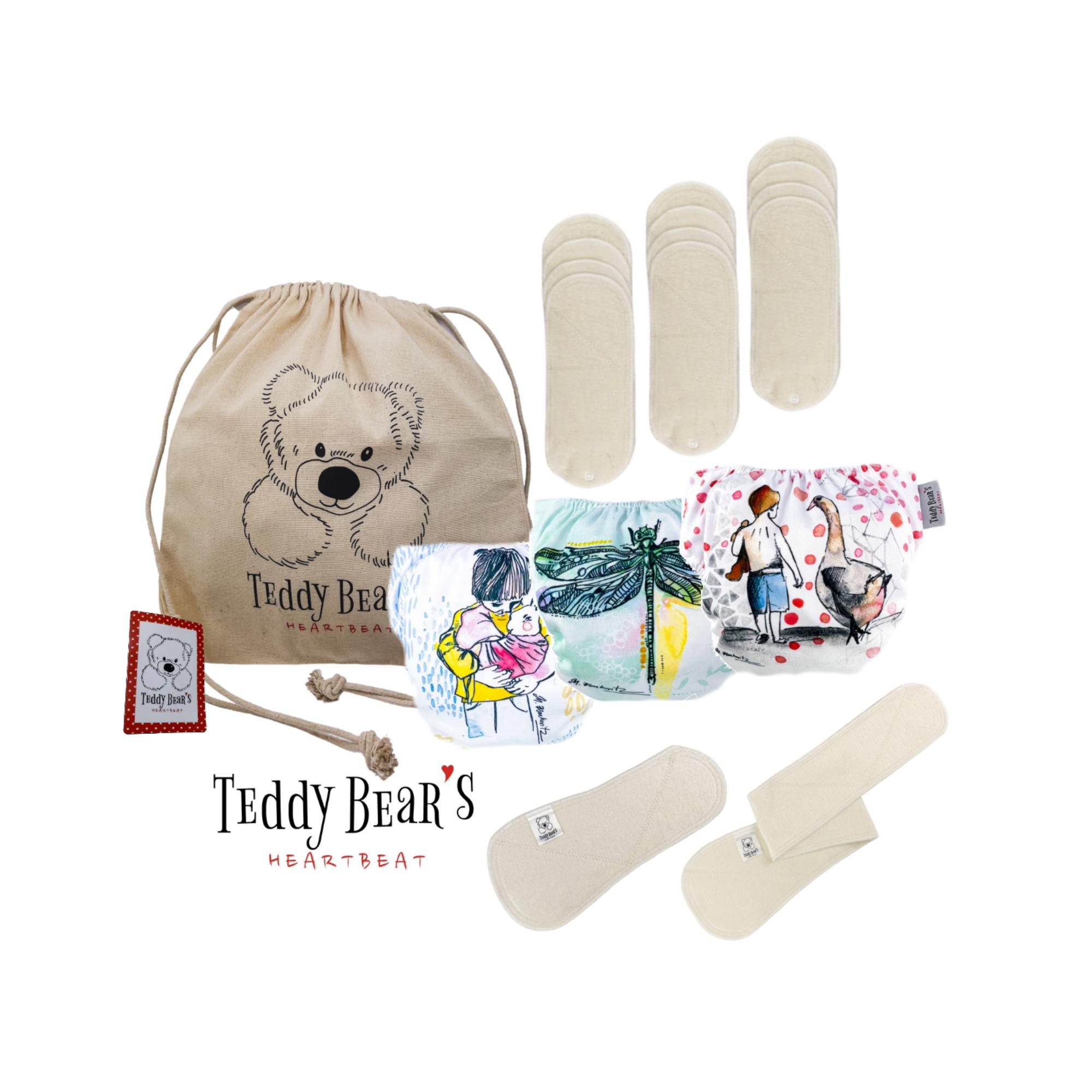 Stor startpakke med ergonomiske tøybleier - OS - Teddy Bear's Heartbeat